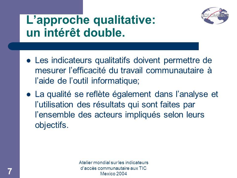 Atelier mondial sur les indicateurs d accès communautaire aux TIC Mexico 2004 7 Lapproche qualitative: un intérêt double.