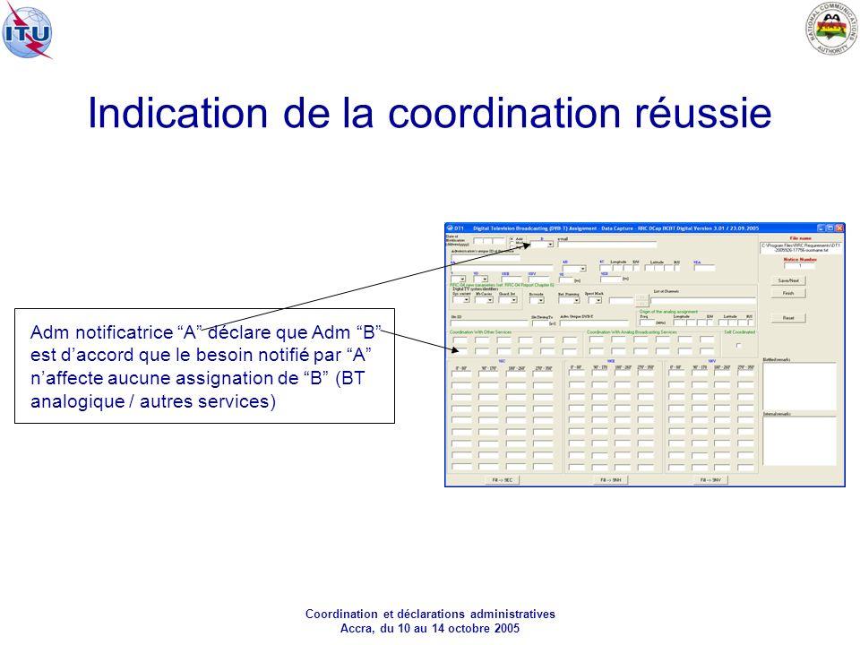 Coordination et déclarations administratives Accra, du 10 au 14 octobre 2005 Indication de la coordination réussie Adm notificatrice A déclare que Adm B est daccord que le besoin notifié par A naffecte aucune assignation de B (BT analogique / autres services)