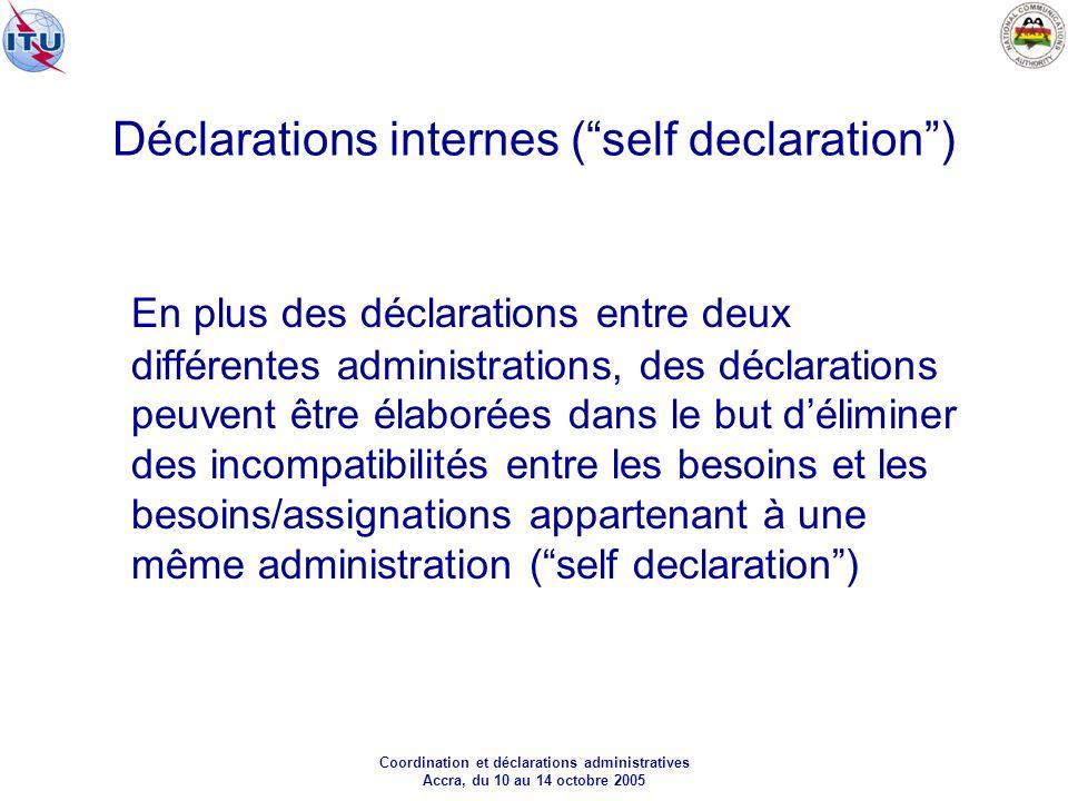 Coordination et déclarations administratives Accra, du 10 au 14 octobre 2005 Déclarations internes (self declaration) En plus des déclarations entre deux différentes administrations, des déclarations peuvent être élaborées dans le but déliminer des incompatibilités entre les besoins et les besoins/assignations appartenant à une même administration (self declaration)