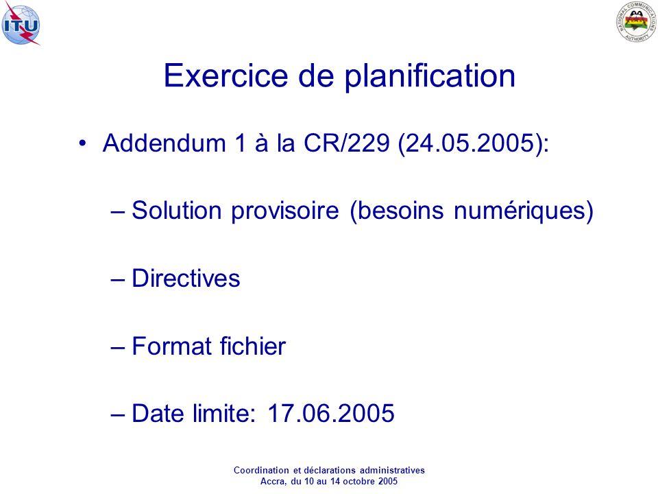 Coordination et déclarations administratives Accra, du 10 au 14 octobre 2005 Exercice de planification Addendum 1 à la CR/229 (24.05.2005): –Solution provisoire (besoins numériques) –Directives –Format fichier –Date limite: 17.06.2005