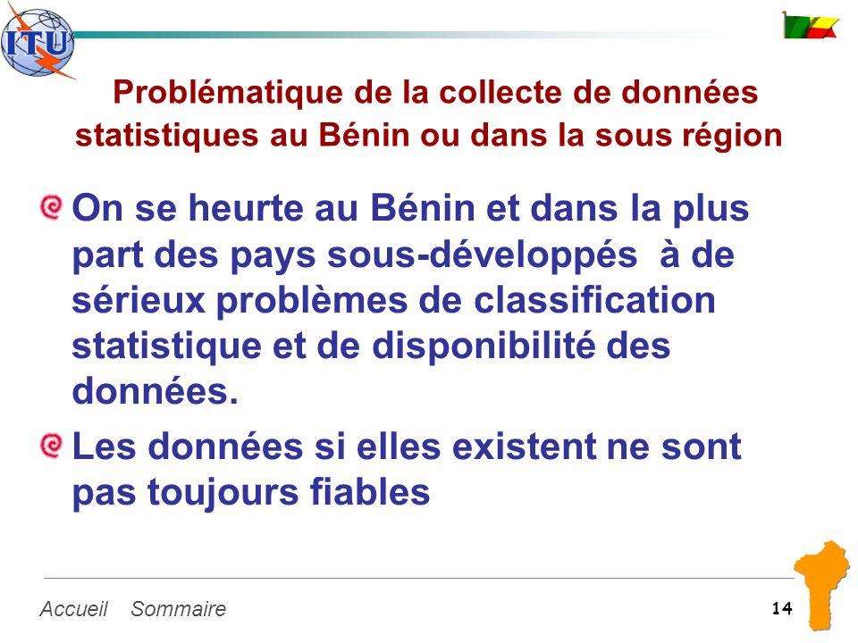 SommaireAccueil 14 Problématique de la collecte de données statistiques au Bénin ou dans la sous région On se heurte au Bénin et dans la plus part des