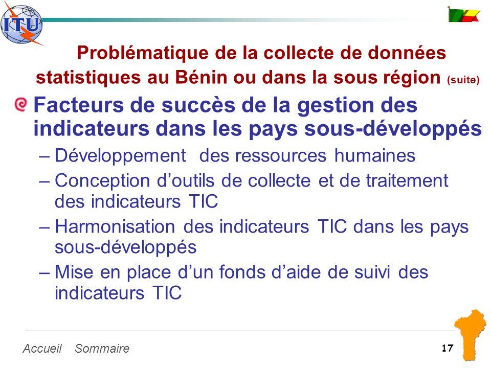 SommaireAccueil 17 Problématique de la collecte de données statistiques au Bénin ou dans la sous région (suite) Facteurs de succès de la gestion des i
