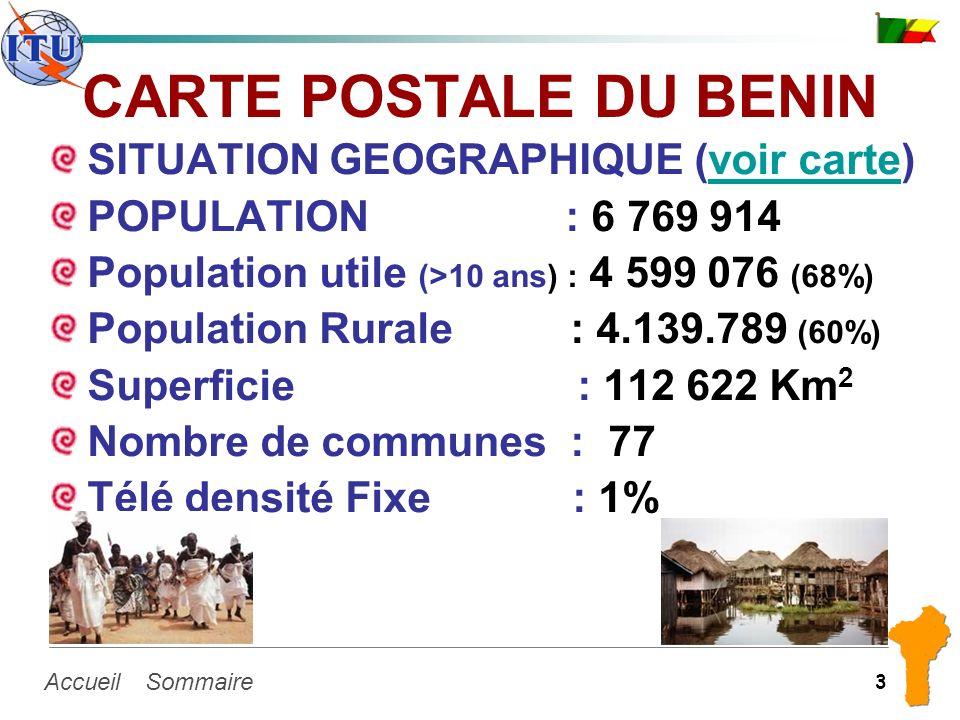 SommaireAccueil 3 CARTE POSTALE DU BENIN SITUATION GEOGRAPHIQUE (voir carte)voir carte POPULATION : 6 769 914 Population utile (>10 ans) : 4 599 076 (