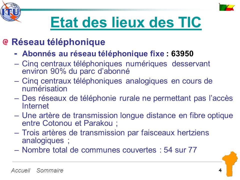 SommaireAccueil 4 Etat des lieux des TIC Réseau téléphonique - Abonnés au réseau téléphonique fixe : 63950 –Cinq centraux téléphoniques numériques des