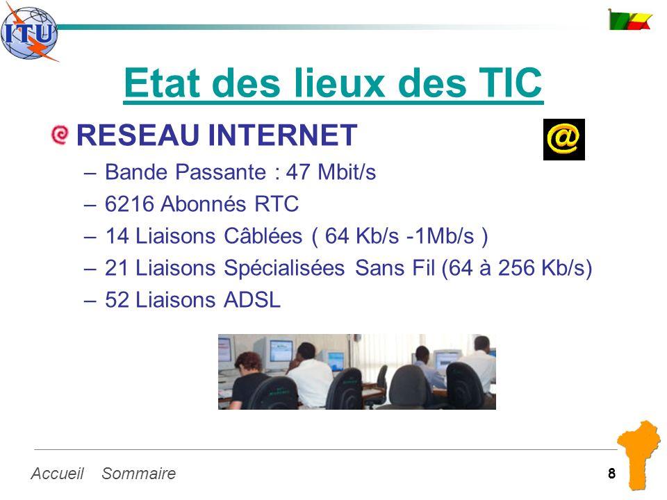 SommaireAccueil 8 Etat des lieux des TIC RESEAU INTERNET –Bande Passante : 47 Mbit/s –6216 Abonnés RTC –14 Liaisons Câblées ( 64 Kb/s -1Mb/s ) –21 Lia