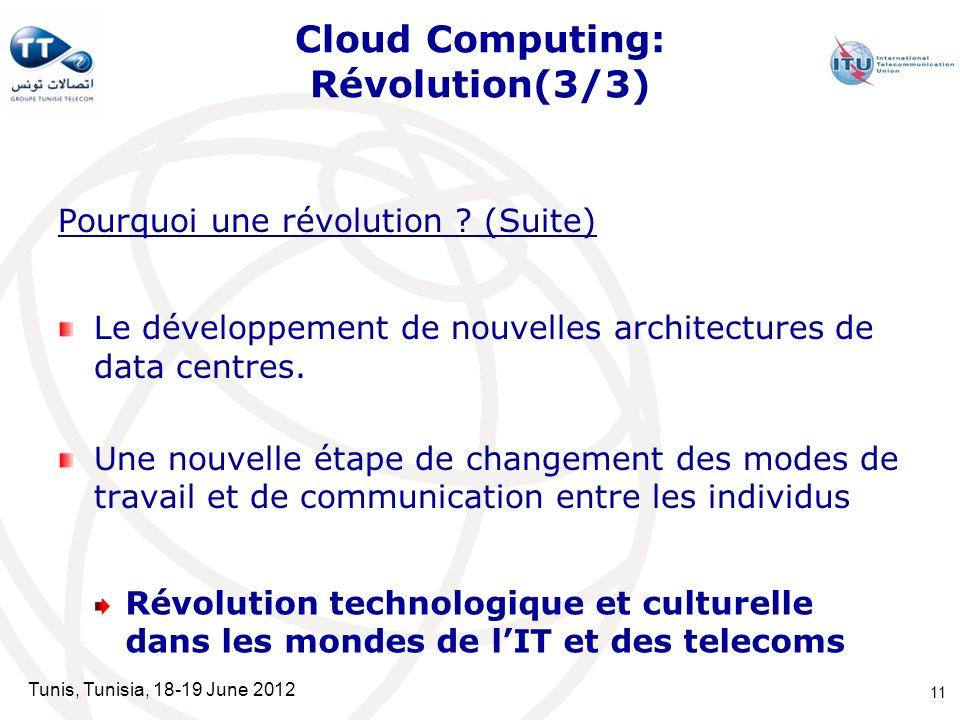 Tunis, Tunisia, 18-19 June 2012 Cloud Computing: Révolution(3/3) Pourquoi une révolution ? (Suite) Le développement de nouvelles architectures de data