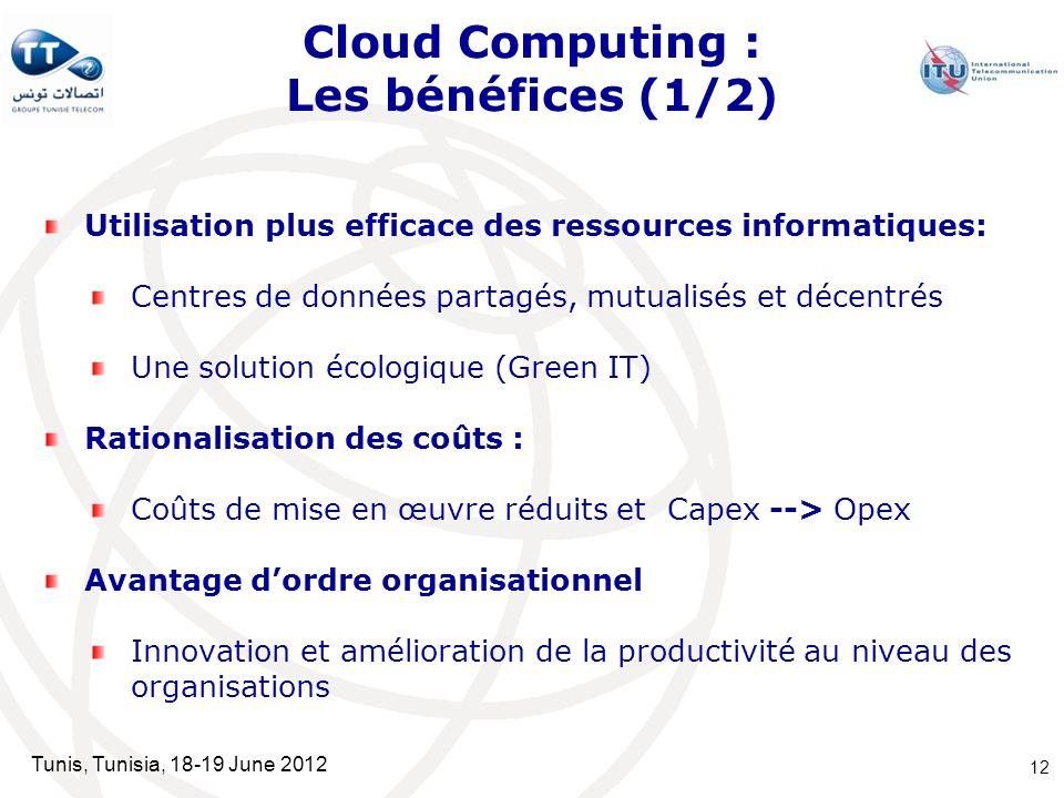 Tunis, Tunisia, 18-19 June 2012 Cloud Computing : Les bénéfices (1/2) Utilisation plus efficace des ressources informatiques: Centres de données parta