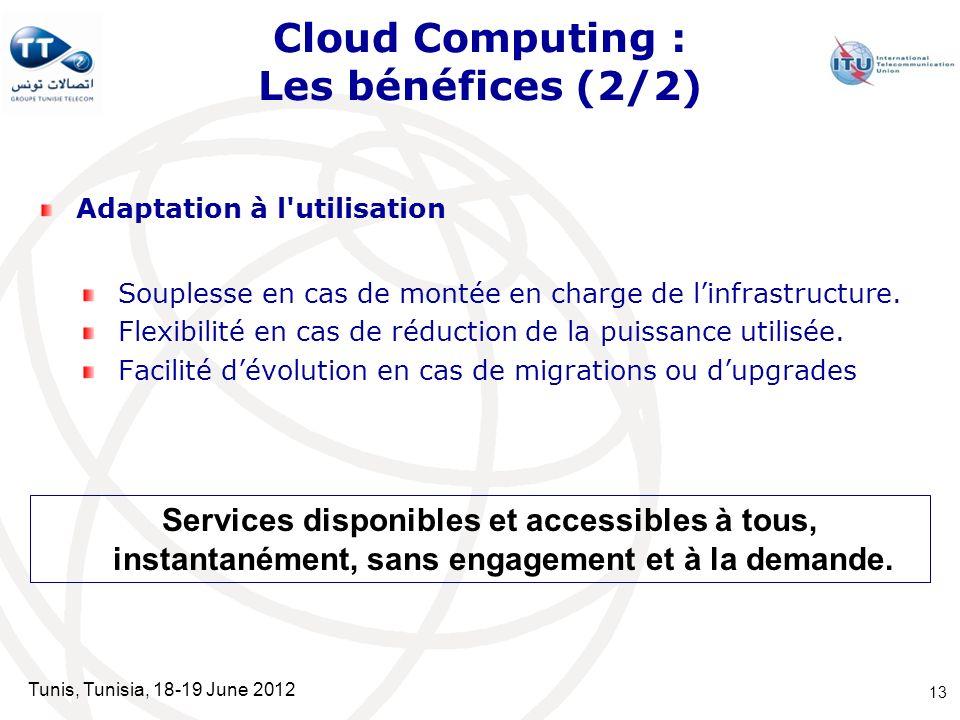Tunis, Tunisia, 18-19 June 2012 Cloud Computing : Les bénéfices (2/2) Adaptation à l'utilisation Souplesse en cas de montée en charge de linfrastructu
