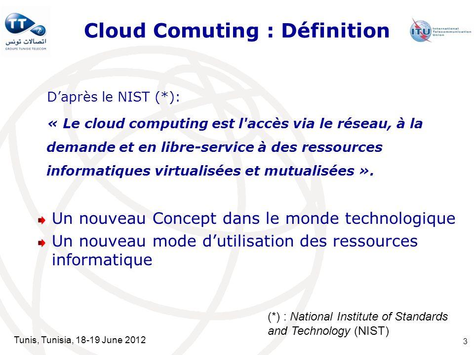 Tunis, Tunisia, 18-19 June 2012 Cloud Comuting : Définition Daprès le NIST (*): « Le cloud computing est l'accès via le réseau, à la demande et en lib