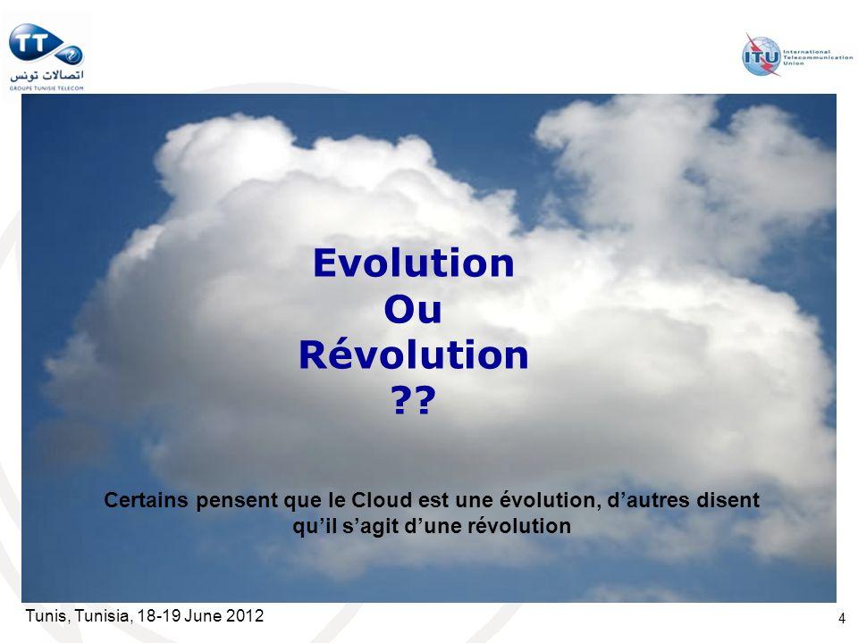 Tunis, Tunisia, 18-19 June 2012 4 Evolution Ou Révolution ?? Certains pensent que le Cloud est une évolution, dautres disent quil sagit dune révolutio