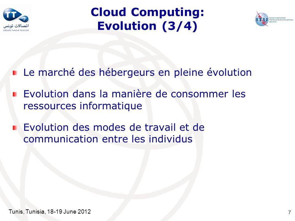 Tunis, Tunisia, 18-19 June 2012 Cloud Computing: Evolution (3/4) Le marché des hébergeurs en pleine évolution Evolution dans la manière de consommer l