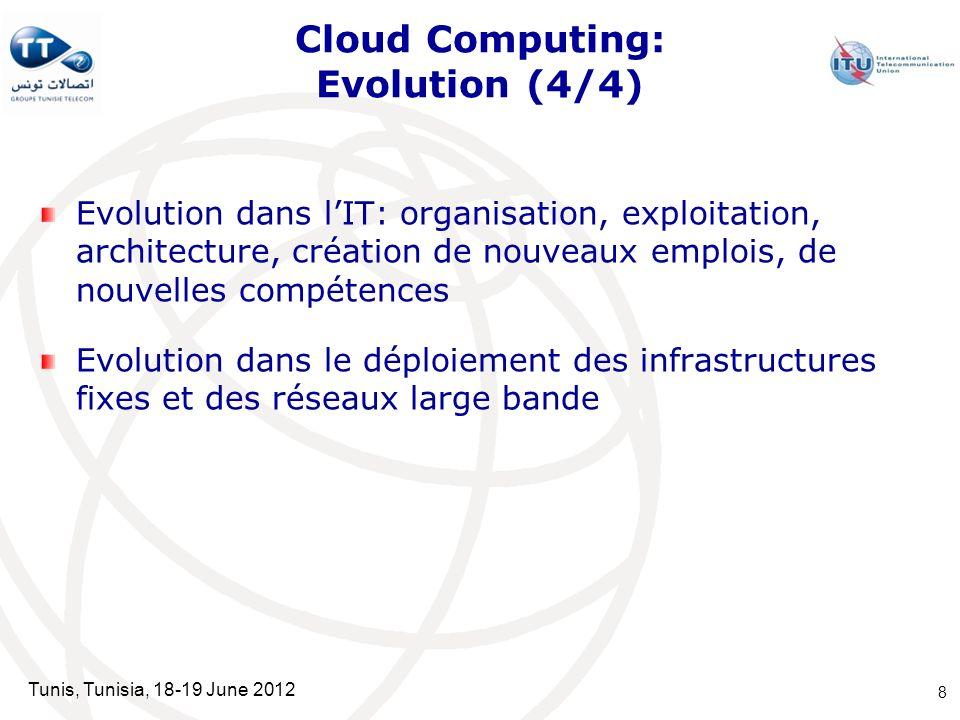 Tunis, Tunisia, 18-19 June 2012 Cloud Computing: Evolution (4/4) Evolution dans lIT: organisation, exploitation, architecture, création de nouveaux em