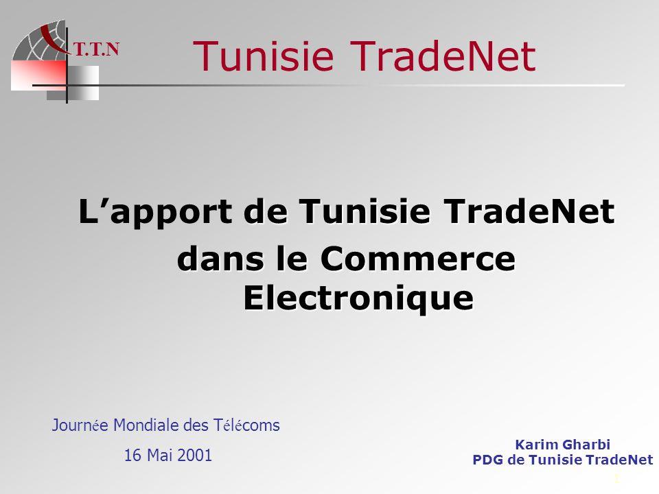 T.T.N 52 CONCLUSION WWW.TradeNet.com.tn TradeNet permet lautomatisation de léchange de données dans un environnement sécurisé Cest une solution opérationnelle pour les transactions communes de commerce locale ou internationale TradeNet est complémentaire aux initiatives en cours et offre en même temps la possibilité de raccourcis TradeNet renferme un potentiel énorme de services à valeur ajoutée qui permet le développement rapide de la Net économie …..Et Merci
