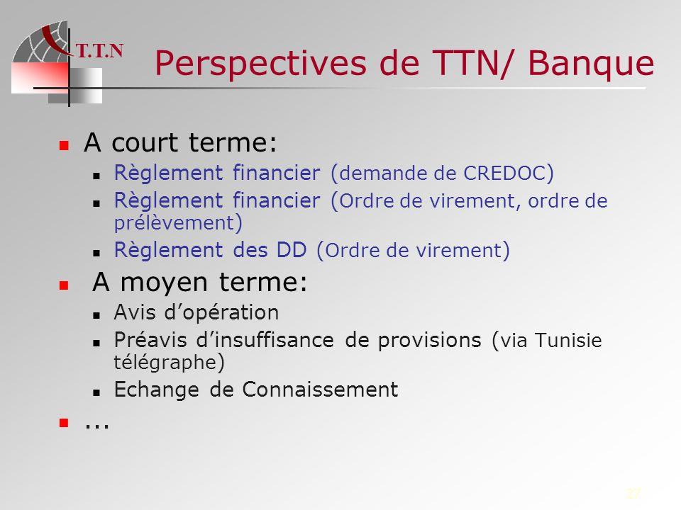 T.T.N 27 Perspectives de TTN/ Banque A court terme: Règlement financier ( demande de CREDOC ) Règlement financier ( Ordre de virement, ordre de prélèv