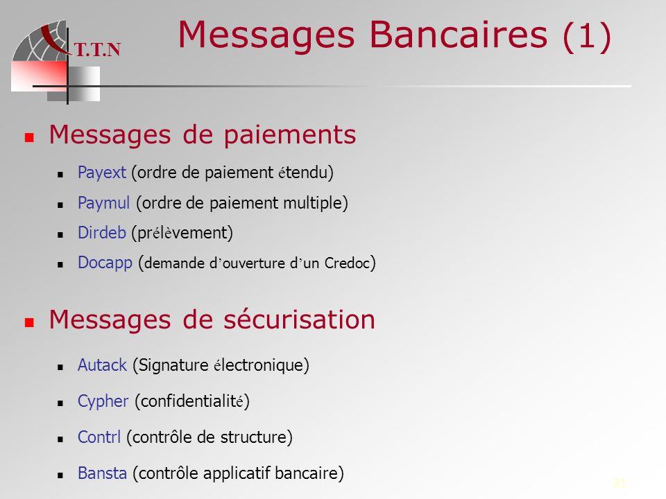 T.T.N 31 Messages Bancaires (1) Messages de paiements Payext (ordre de paiement é tendu) Paymul (ordre de paiement multiple) Dirdeb (pr é l è vement)