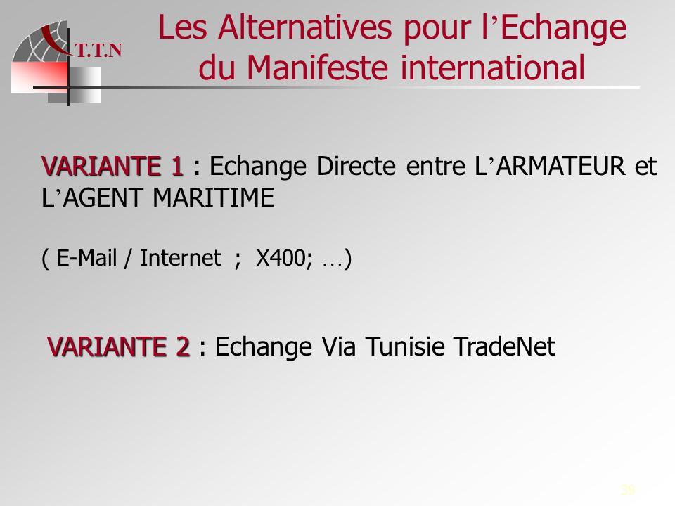 T.T.N 39 Les Alternatives pour l Echange du Manifeste international VARIANTE 1 VARIANTE 1 : Echange Directe entre L ARMATEUR et L AGENT MARITIME ( E-M