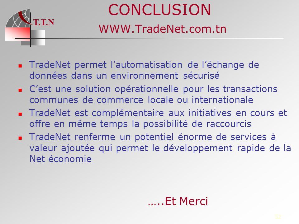 T.T.N 52 CONCLUSION WWW.TradeNet.com.tn TradeNet permet lautomatisation de léchange de données dans un environnement sécurisé Cest une solution opérat