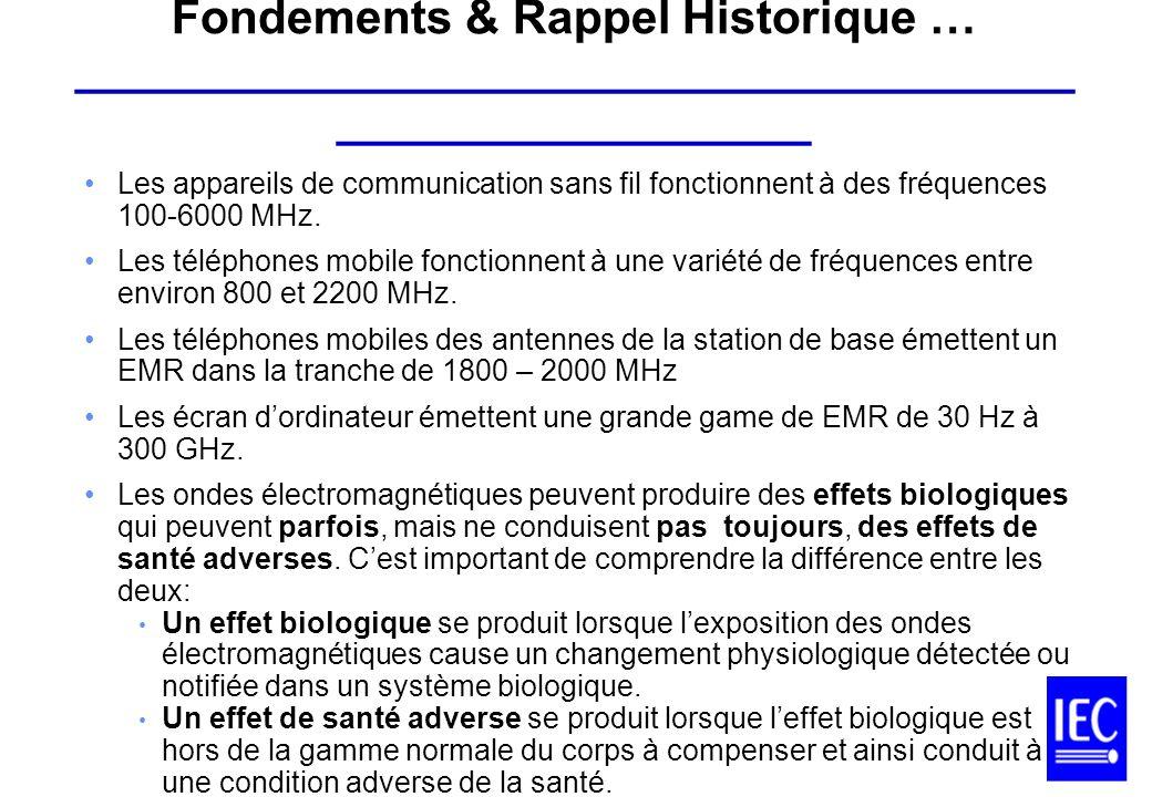 Les appareils de communication sans fil fonctionnent à des fréquences 100-6000 MHz. Les téléphones mobile fonctionnent à une variété de fréquences ent