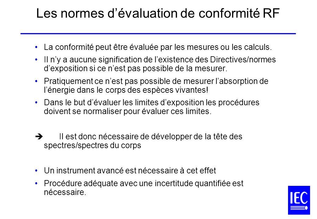 Les normes dévaluation de conformité RF ______________________________________ La conformité peut être évaluée par les mesures ou les calculs. Il ny a