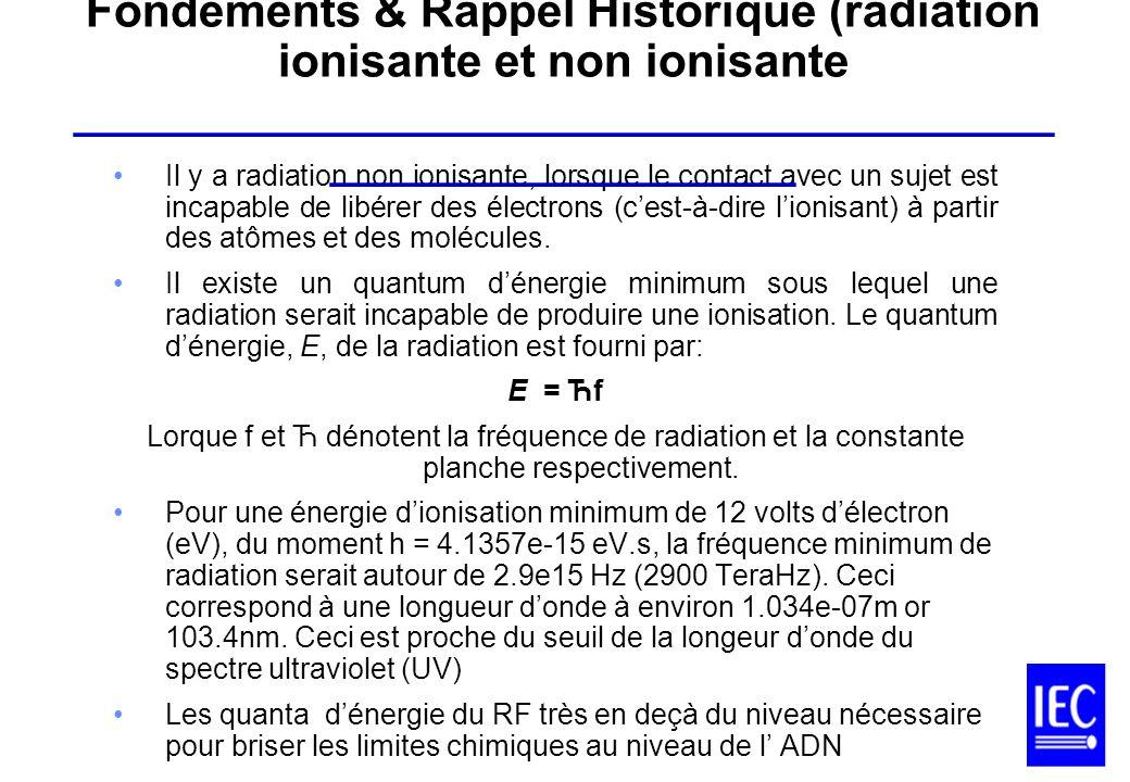 Il y a radiation non ionisante, lorsque le contact avec un sujet est incapable de libérer des électrons (cest-à-dire lionisant) à partir des atômes et