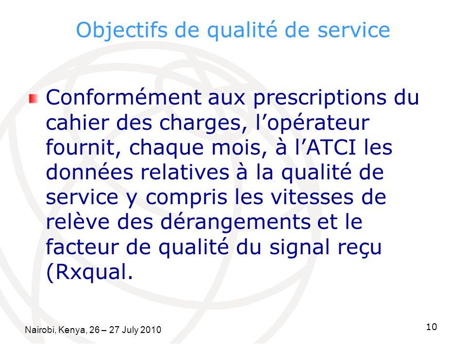 Objectifs de qualité de service Conformément aux prescriptions du cahier des charges, lopérateur fournit, chaque mois, à lATCI les données relatives à la qualité de service y compris les vitesses de relève des dérangements et le facteur de qualité du signal reçu (Rxqual.