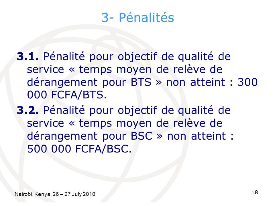 3- Pénalités 3.1. Pénalité pour objectif de qualité de service « temps moyen de relève de dérangement pour BTS » non atteint : 300 000 FCFA/BTS. 3.2.