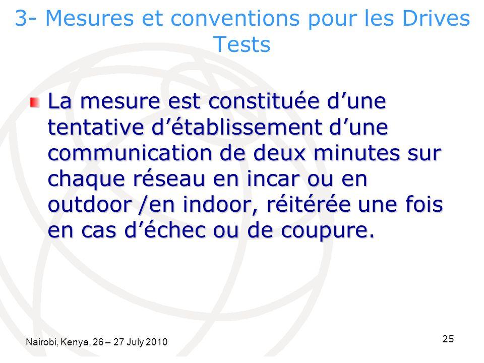3- Mesures et conventions pour les Drives Tests La mesure est constituée dune tentative détablissement dune communication de deux minutes sur chaque r