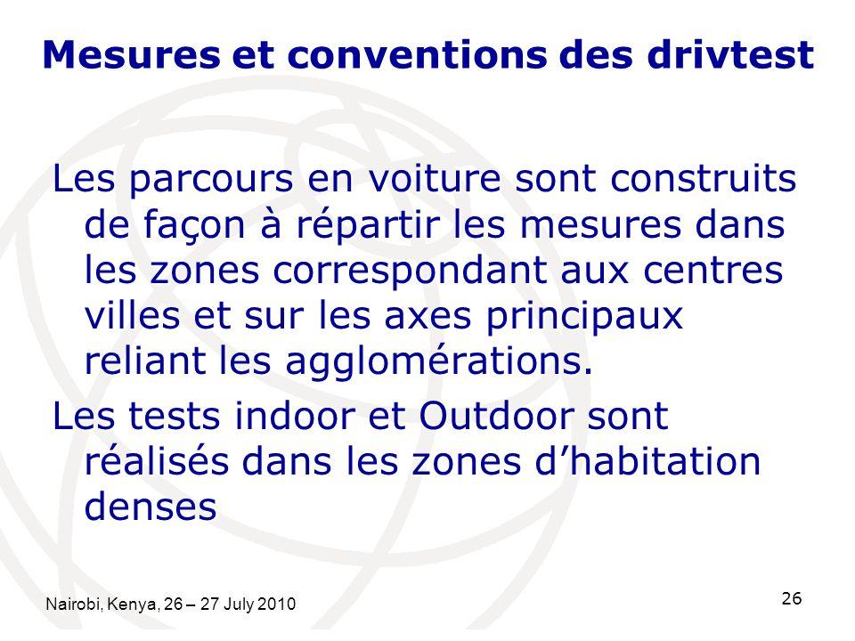 Mesures et conventions des drivtest Les parcours en voiture sont construits de façon à répartir les mesures dans les zones correspondant aux centres villes et sur les axes principaux reliant les agglomérations.