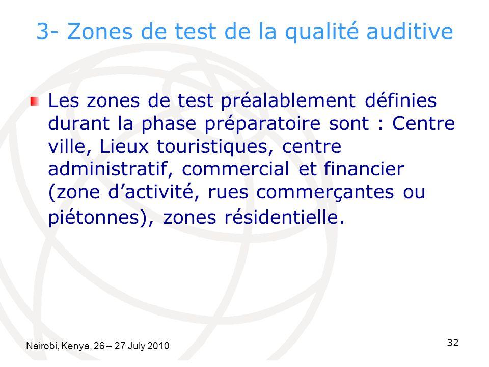 3- Zones de test de la qualité auditive Les zones de test préalablement définies durant la phase préparatoire sont : Centre ville, Lieux touristiques, centre administratif, commercial et financier (zone dactivité, rues commerçantes ou piétonnes), zones résidentielle.