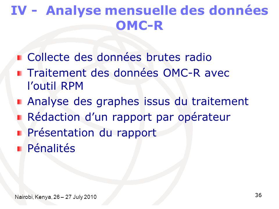 IV - Analyse mensuelle des données OMC-R Collecte des données brutes radio Traitement des données OMC-R avec loutil RPM Analyse des graphes issus du t