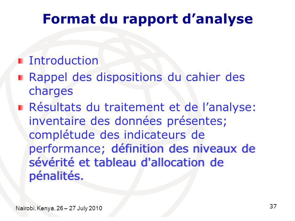 Format du rapport danalyse Introduction Rappel des dispositions du cahier des charges définition des niveaux de sévérité et tableau d allocation de pénalités.