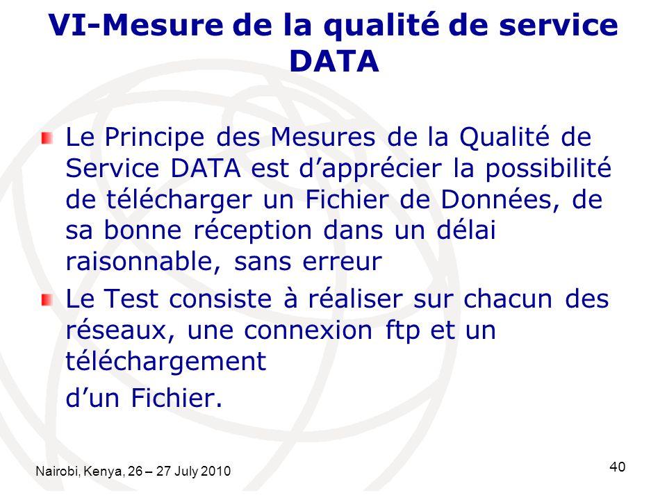 VI-Mesure de la qualité de service DATA Le Principe des Mesures de la Qualité de Service DATA est dapprécier la possibilité de télécharger un Fichier