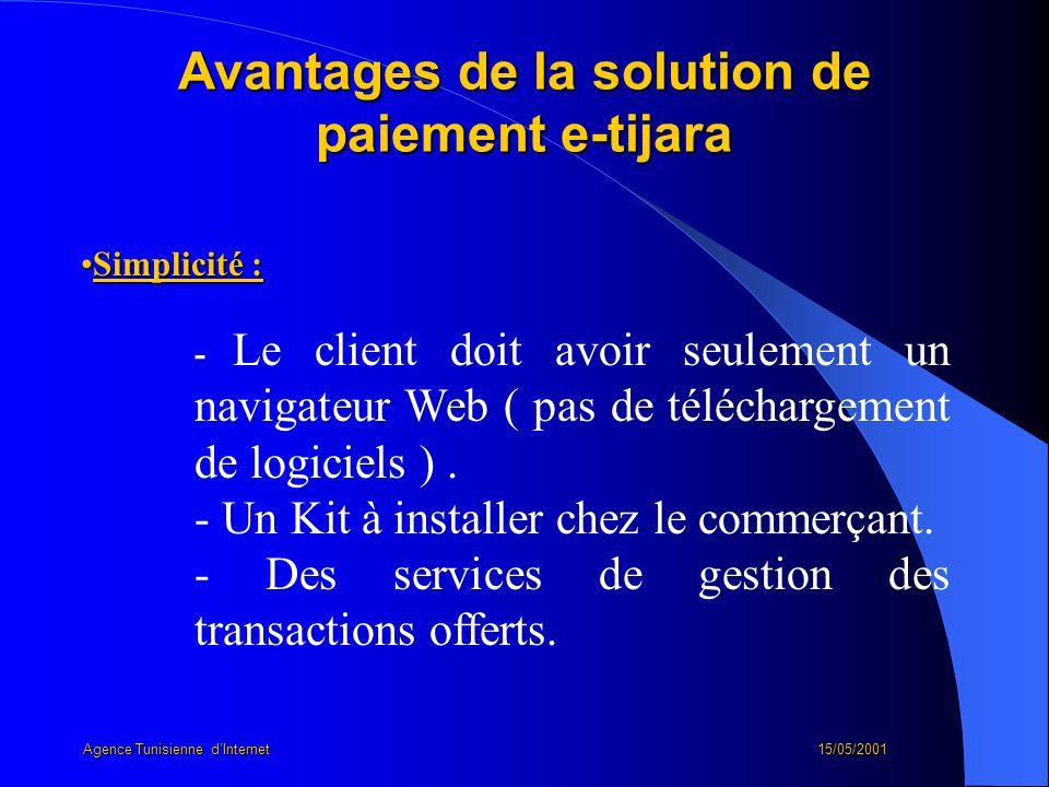 Avantages de la solution de paiement e-tijara Simplicité :Simplicité : - Le client doit avoir seulement un navigateur Web ( pas de téléchargement de l