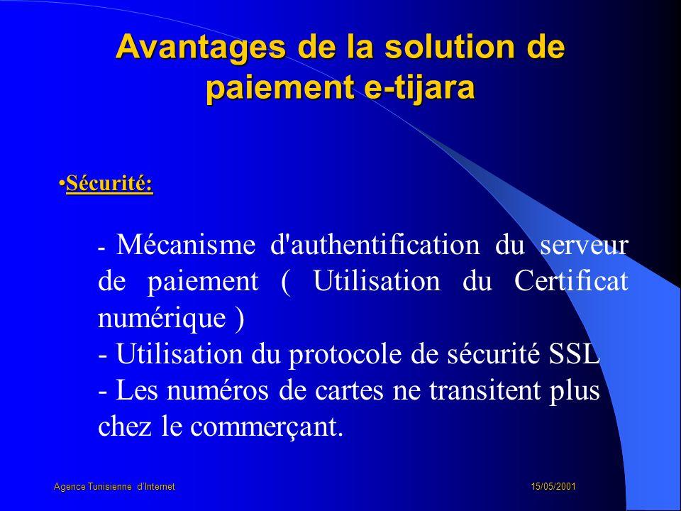 Avantages de la solution de paiement e-tijara Sécurité:Sécurité: - Mécanisme d'authentification du serveur de paiement ( Utilisation du Certificat num