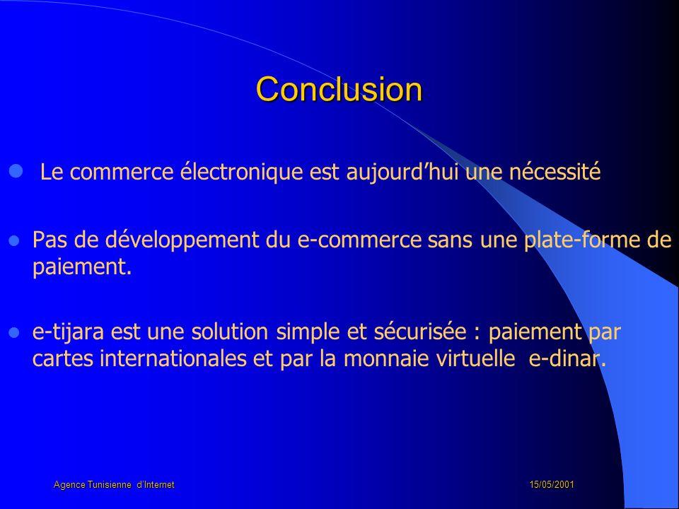 Conclusion Le commerce électronique est aujourdhui une nécessité Pas de développement du e-commerce sans une plate-forme de paiement. e-tijara est une