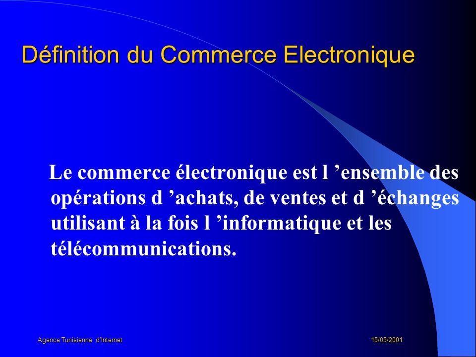 Définition du Commerce Electronique Le commerce électronique est l ensemble des opérations d achats, de ventes et d échanges utilisant à la fois l inf