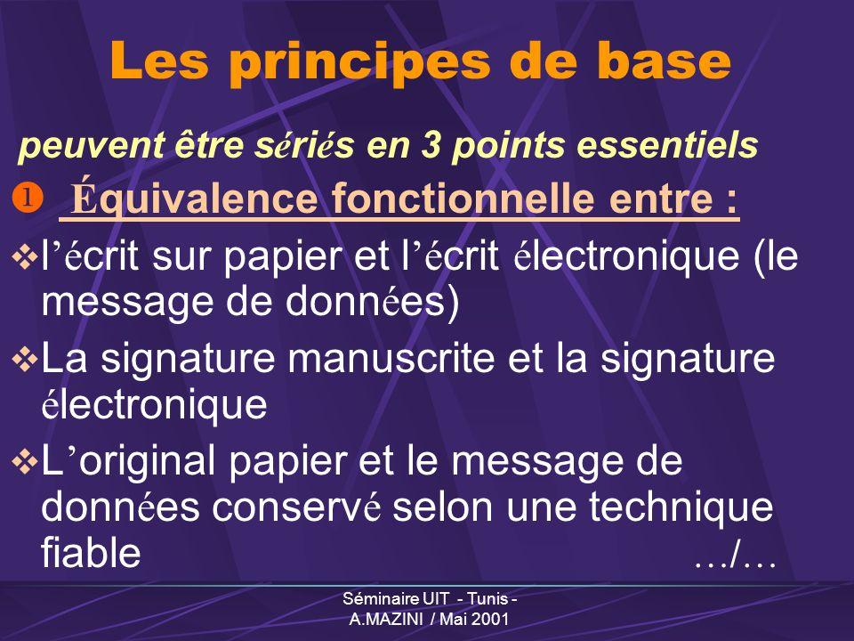 Séminaire UIT - Tunis - A.MAZINI / Mai 2001 Recommandations du Groupe « Administration en ligne » Validation des t é l é -proc é dures Code des douanes modifi é (proc é dures de d é douanement en ligne d é j à op é rationnelles) T é l é -d é clarations fiscales (modification en cours) Achats publics en ligne (textes sur les march é s publics)