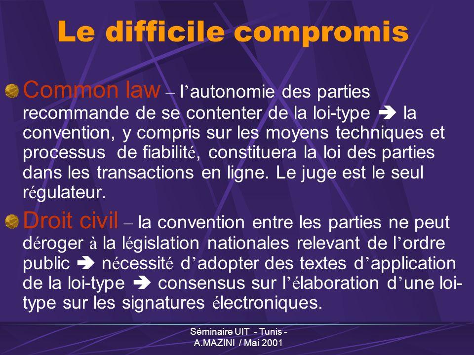 Séminaire UIT - Tunis - A.MAZINI / Mai 2001 Le difficile compromis Common law – l autonomie des parties recommande de se contenter de la loi-type la convention, y compris sur les moyens techniques et processus de fiabilit é, constituera la loi des parties dans les transactions en ligne.