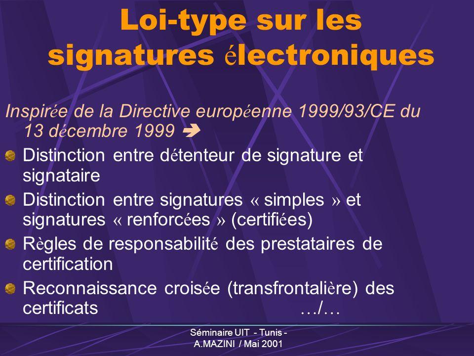 Séminaire UIT - Tunis - A.MAZINI / Mai 2001 Loi-type sur les signatures é lectroniques Inspir é e de la Directive europ é enne 1999/93/CE du 13 d é cembre 1999 Distinction entre d é tenteur de signature et signataire Distinction entre signatures « simples » et signatures « renforc é es » (certifi é es) R è gles de responsabilit é des prestataires de certification Reconnaissance crois é e (transfrontali è re) des certificats … / …