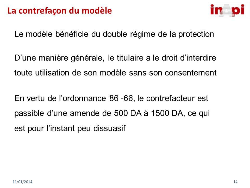 Le modèle bénéficie du double régime de la protection Dune manière générale, le titulaire a le droit dinterdire toute utilisation de son modèle sans s