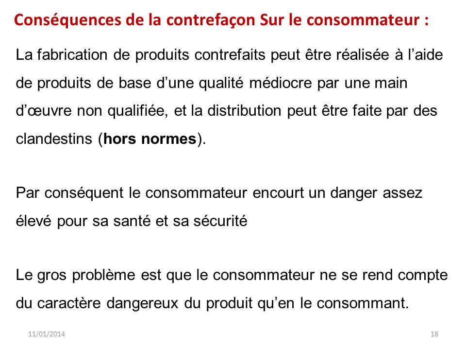 11/01/201418 La fabrication de produits contrefaits peut être réalisée à laide de produits de base dune qualité médiocre par une main dœuvre non quali
