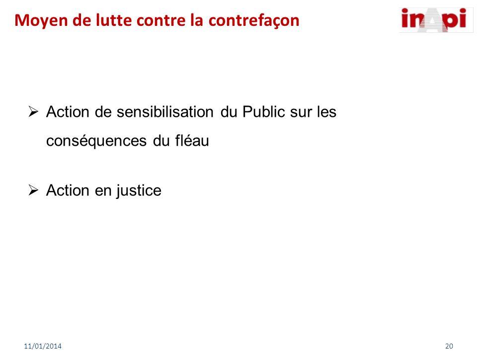 Action de sensibilisation du Public sur les conséquences du fléau Action en justice 11/01/201420 Moyen de lutte contre la contrefaçon