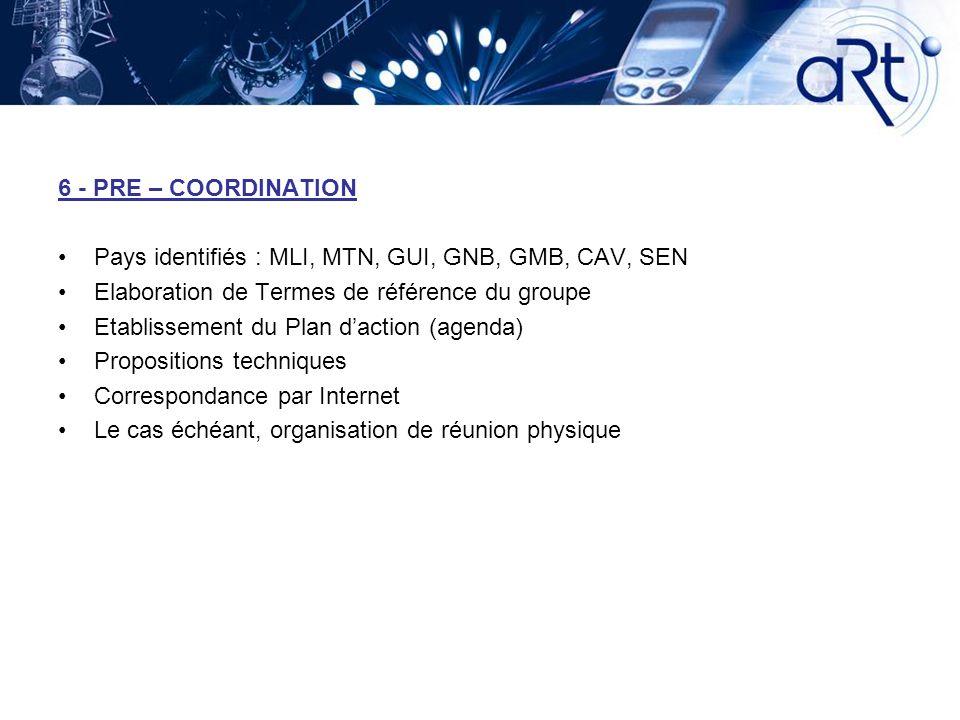 6 - PRE – COORDINATION Pays identifiés : MLI, MTN, GUI, GNB, GMB, CAV, SEN Elaboration de Termes de référence du groupe Etablissement du Plan daction