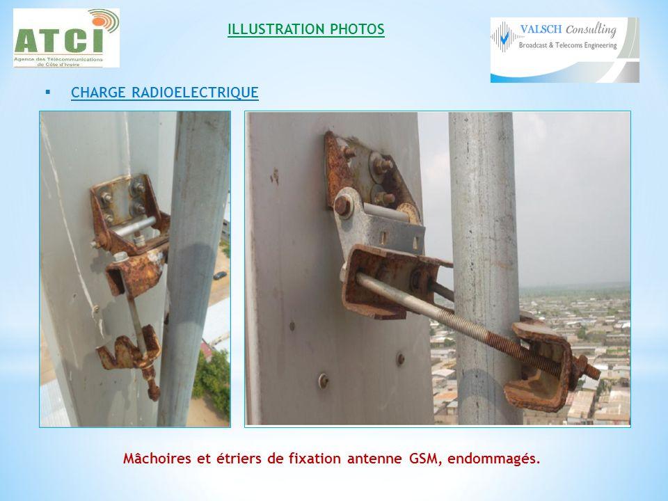 ILLUSTRATION PHOTOS CHARGE RADIOELECTRIQUE Mâchoires et étriers de fixation antenne GSM, endommagés.