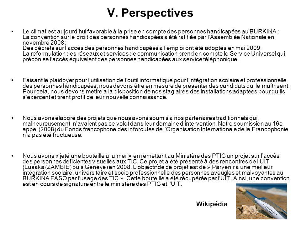 V. Perspectives Le climat est aujourdhui favorable à la prise en compte des personnes handicapées au BURKINA : La convention sur le droit des personne