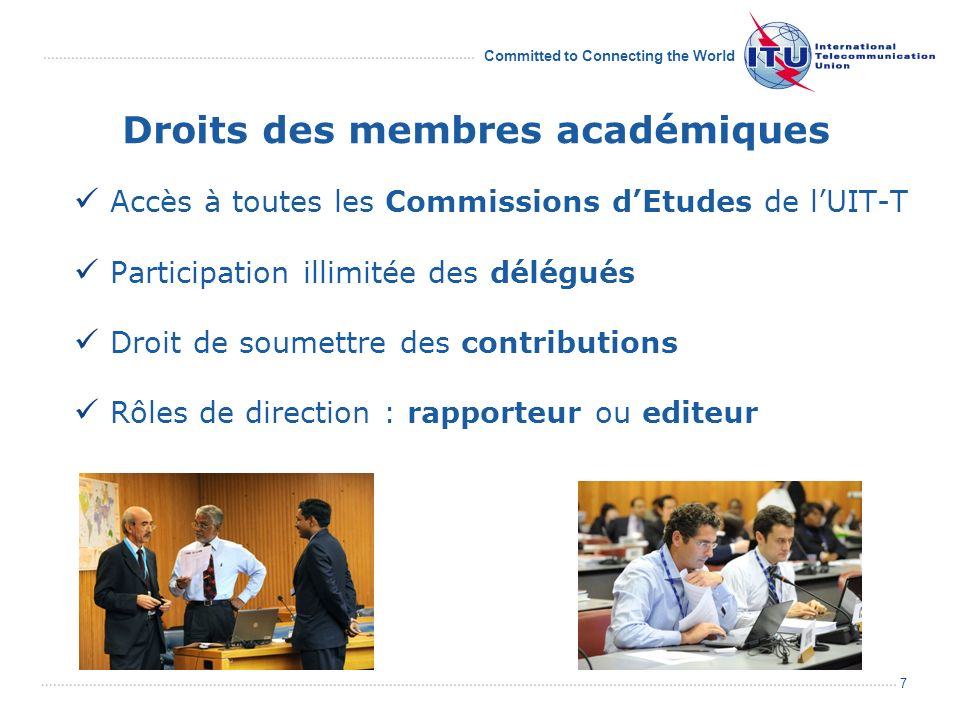 Committed to Connecting the World Contributions des membres académiques aux travaux de lUIT-T Waseda University Proposal for revised draft text of X.gep: A guideline for evaluating telebiometric template protection techniques Proposal of a direction of Telebiometrics Question for next study period Study Group 17 on Security (Q9/17), September 2011 Nanjing University of Posts and Telecommunications Proposal for a new Recommendation on Architecture of NGN for support of the Internet of Things Study Group 13 on NGN (Q5/13), April 2011 Beijing University of Posts and Telecommunications 13 recommendations : Proposal for Multi-connection Registration, Proposal for UE Initiated Multi-connection Service Transfer, etc.