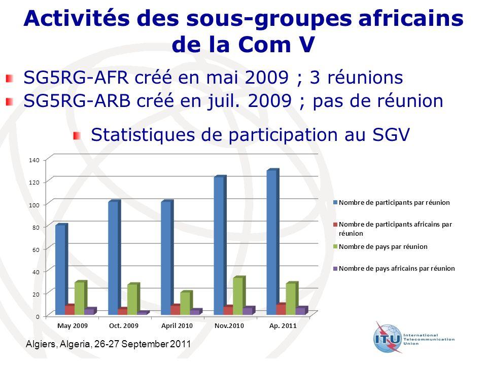 Algiers, Algeria, 26-27 September 2011 11 Activités des sous-groupes africains de la Com V SG5RG-AFR créé en mai 2009 ; 3 réunions SG5RG-ARB créé en juil.