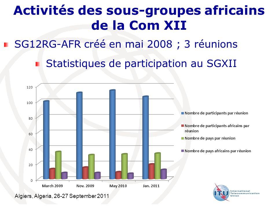 Algiers, Algeria, 26-27 September 2011 14 Activités des sous-groupes africains de la Com XII SG12RG-AFR créé en mai 2008 ; 3 réunions Statistiques de participation au SGXII