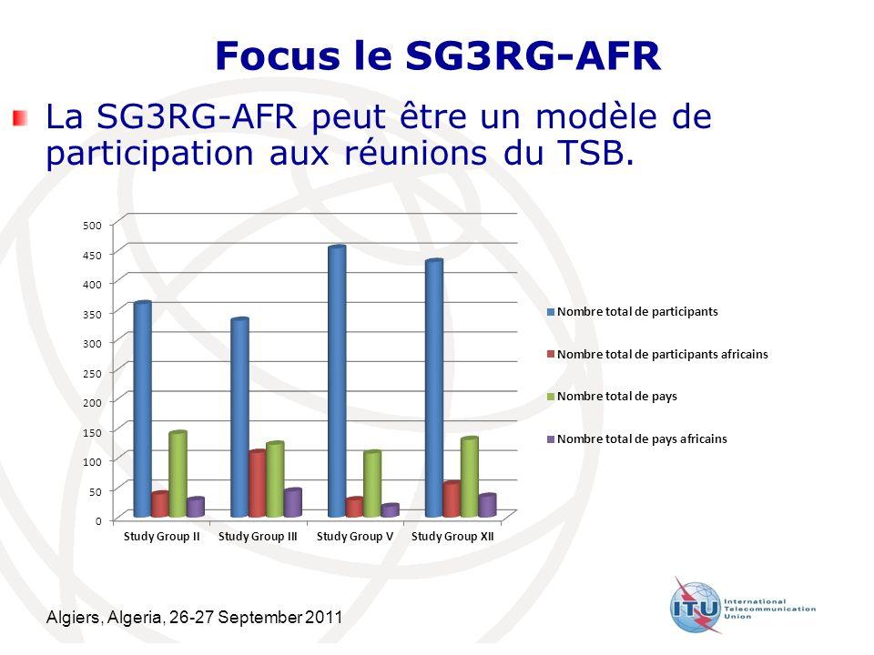Algiers, Algeria, 26-27 September 2011 18 Focus le SG3RG-AFR La SG3RG-AFR peut être un modèle de participation aux réunions du TSB.