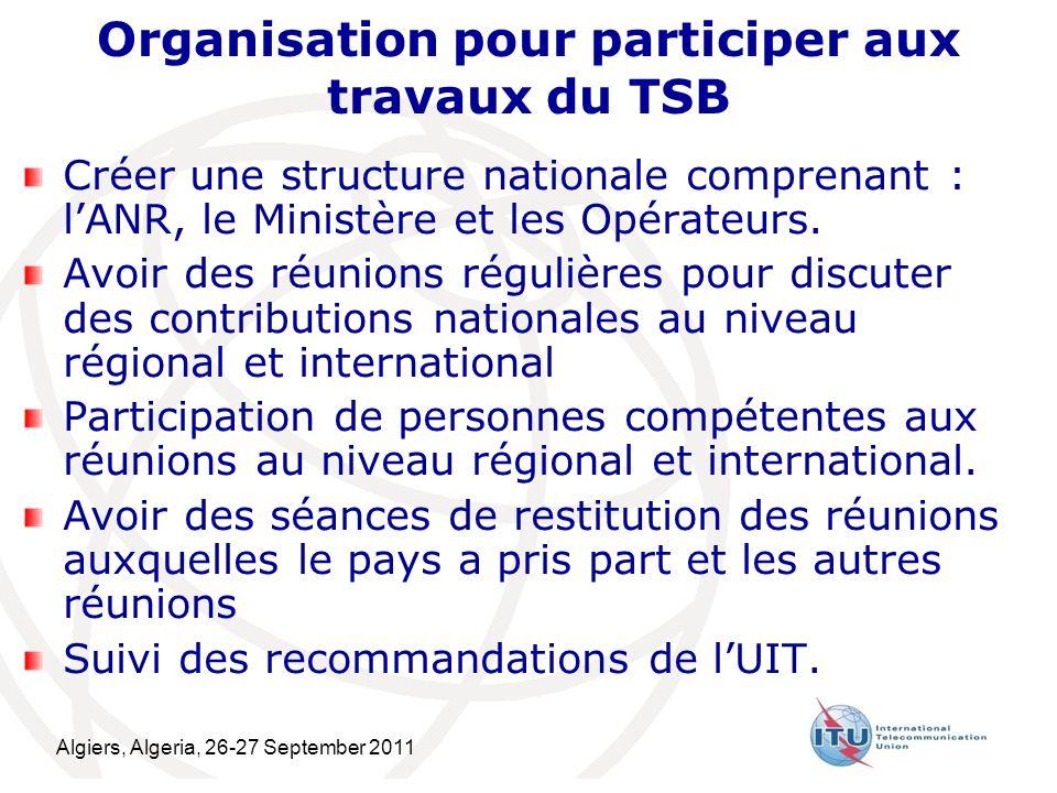 Algiers, Algeria, 26-27 September 2011 19 Organisation pour participer aux travaux du TSB Créer une structure nationale comprenant : lANR, le Ministère et les Opérateurs.